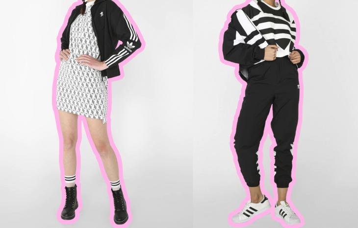 Chica usando un vestido adidas, botas y chaqueta. Segunda chica usando un conjunto Adidas