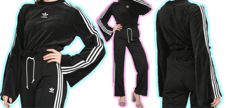 Chica usando un conjunto adidas de color negro con tacones