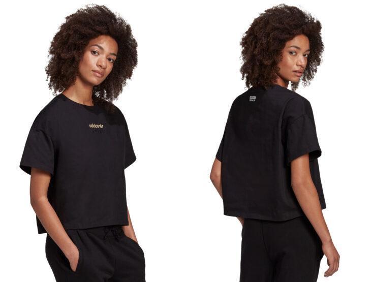 Ropa y moda cómoda para mujeres; chica morena de cabello chino usando playera casual negra con estampado dorado de Adidas, pants