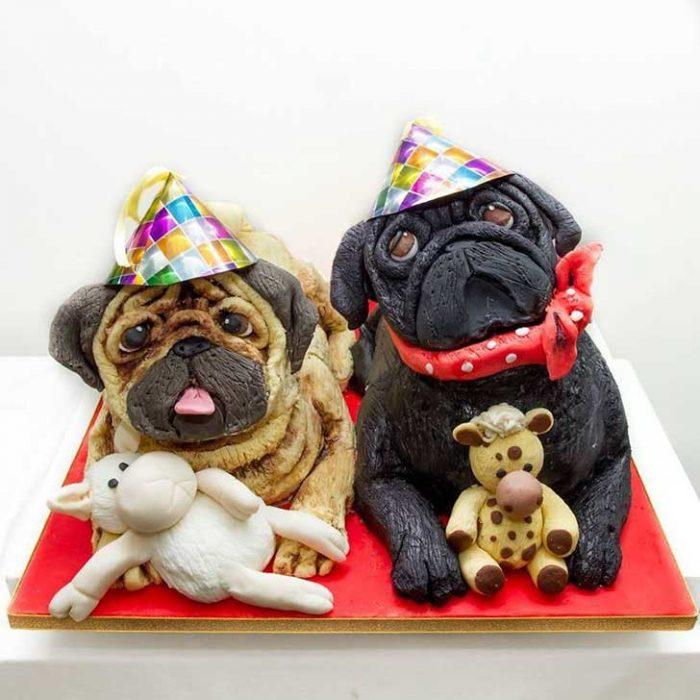 pugs pastel torta