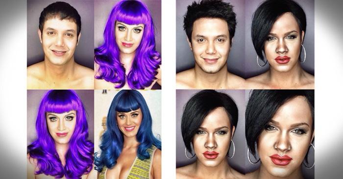Él se transforma increíblemente en cualquier celebridad por medio del maquillaje