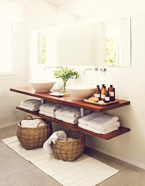Lava manos organizado con canastas