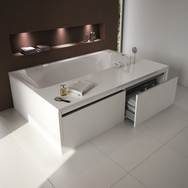 Guarda artículos de baño en la bañera