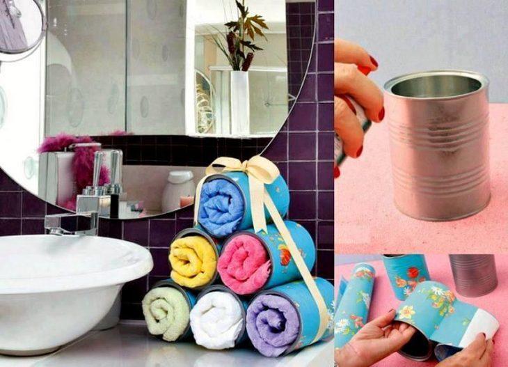 Organiza tus toallas con latas