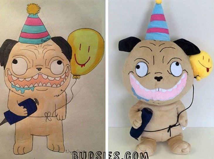 Dibujo y peluche de un perro pug