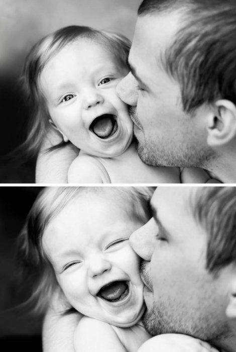 Fotos en blanco y negro de papá e hija sonriendo