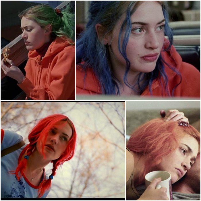 Varias fotografías de Clementine en la película eterno resplandor de una mente sin recuerdos