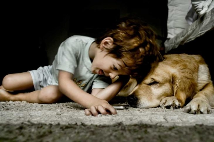 Niño feliz jugando junto a su perro labrador