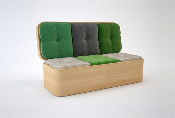sofá de madera de color verde y gris