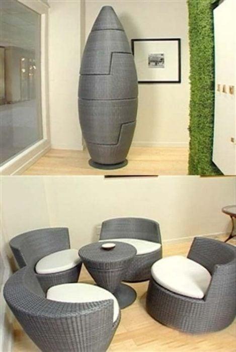 capsula de color gris que se convierte en una bonita sala