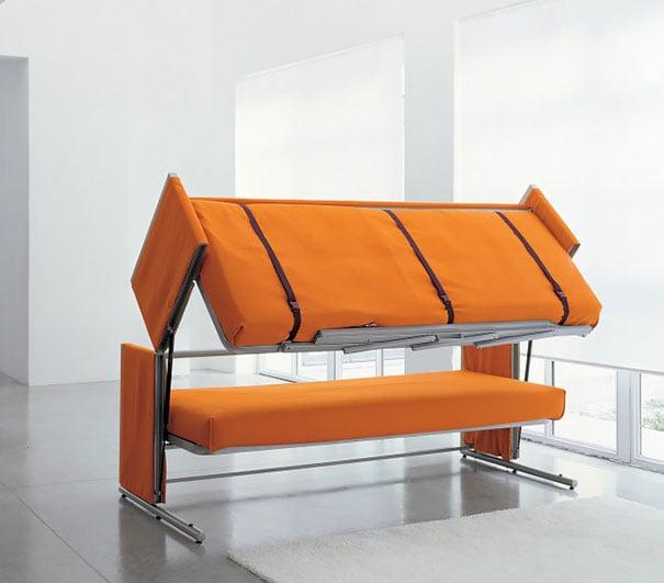 diseño de sillón que se vuelve litera