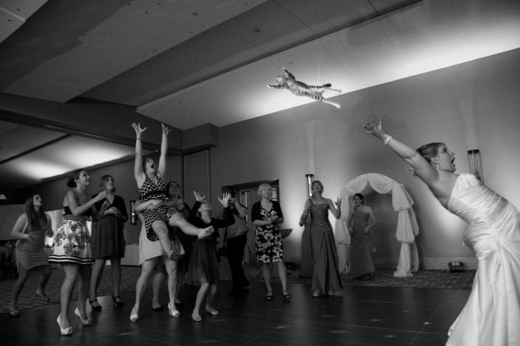 novia de espaldas lanzando a un gato mientras las mujeres esperan atraparlo en medio de un salón de baile