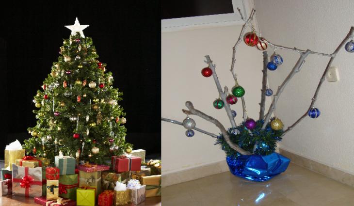 árbolito de navidad de ramas