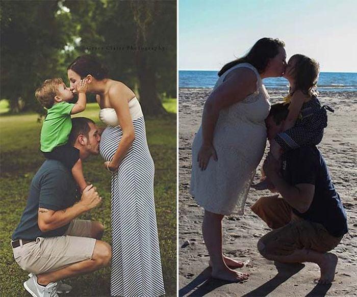 Foto familiar expectativa vs realidad