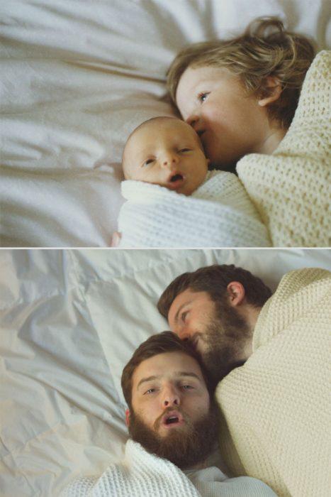 Hermanos Luxton acostados en la cama