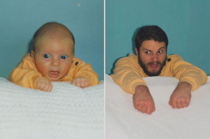 Niño con cara graciosa y adulto recreándolo