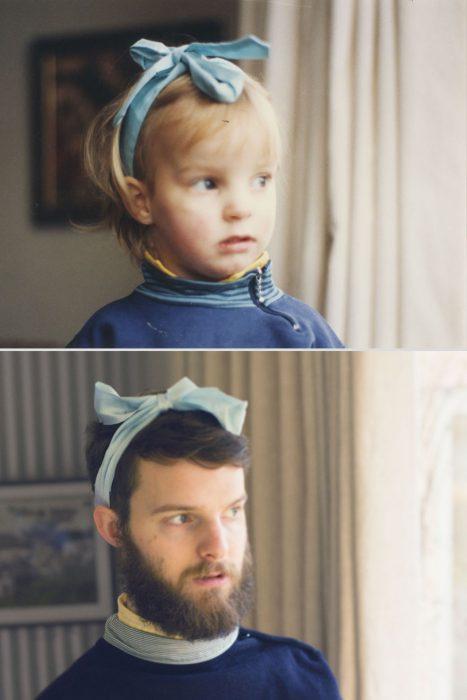 Persona con moño en la cabeza de niño y de adulto