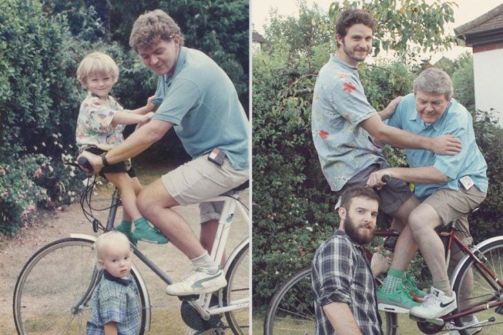 Hermanos Luxton con su tío antes y después