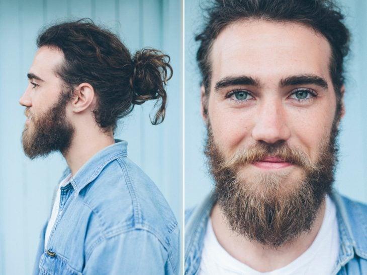 Hombre con ojos azules, barba y chonguito