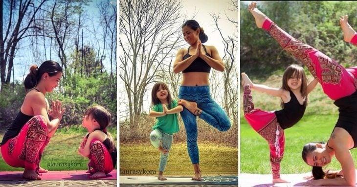 Diferentes poses de yoga entre madre e hija