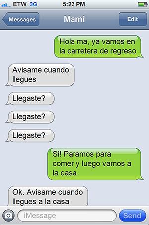 Mensaje de texto de mamá