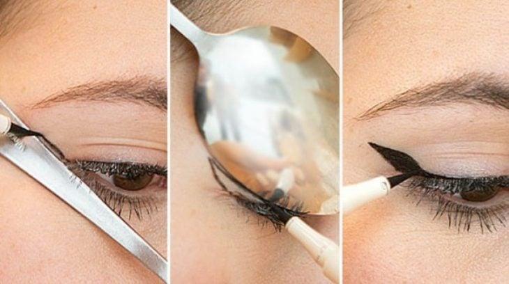 Usa una cuchara para hacer la linea literal del ojo