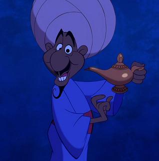 vendedor ambulante de la película aladdin, que aparece sosteniendo una lampara de oro