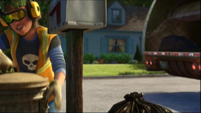 personaje de disney pasando por la basura mientras usa unos audifonos y recolecta las bolsas de la basura