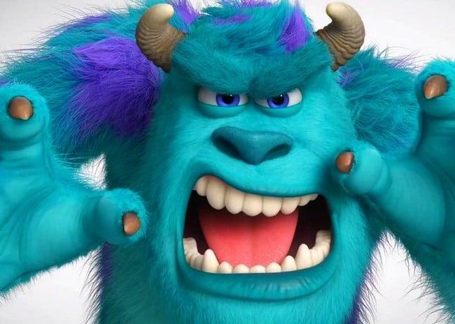 monstruo de color azul con garras, colmillos y cuernos
