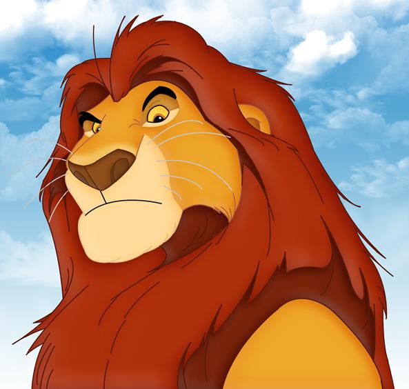 león mufasa mostrando su cara y pecho