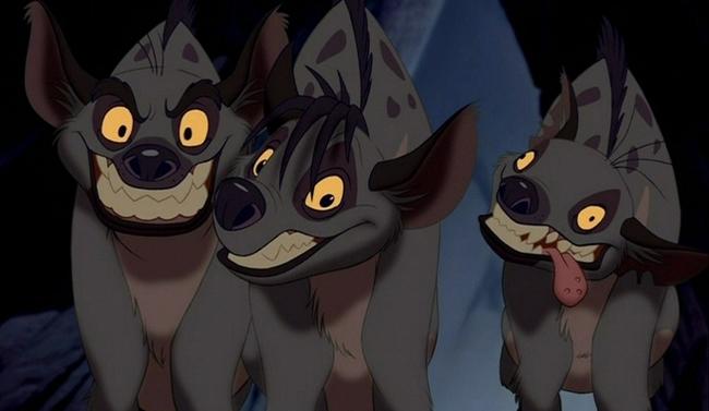 trío de hienas que aparecen en la película El rey león