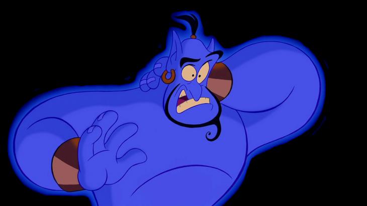 dibujo del genio azul de la lampara que aparece en la película Aladdin