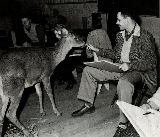 hombre sentado junto a un venado y dibujando al animal