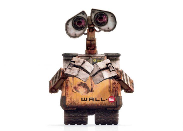 Personaje Wall-e, caja de metal con manos y ojos que recicla basura