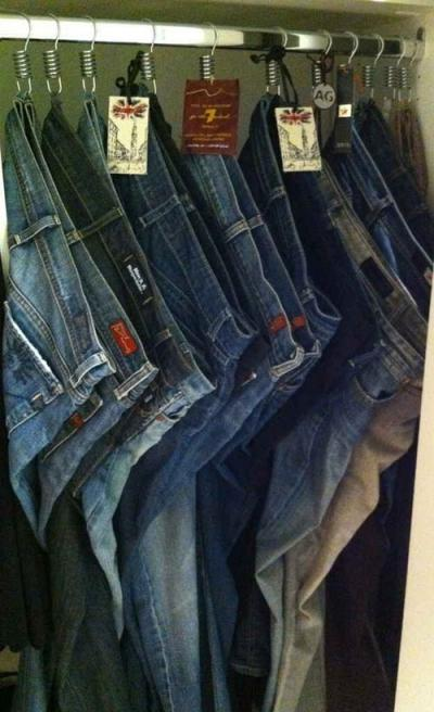 Ganchos de cortina de baño para colgar los jeans