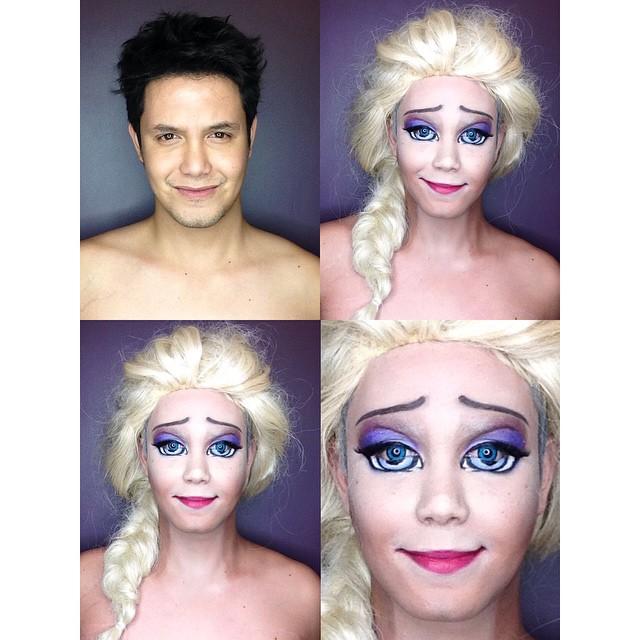 Paolo Ballesteros transformado en Elsa de Frozen