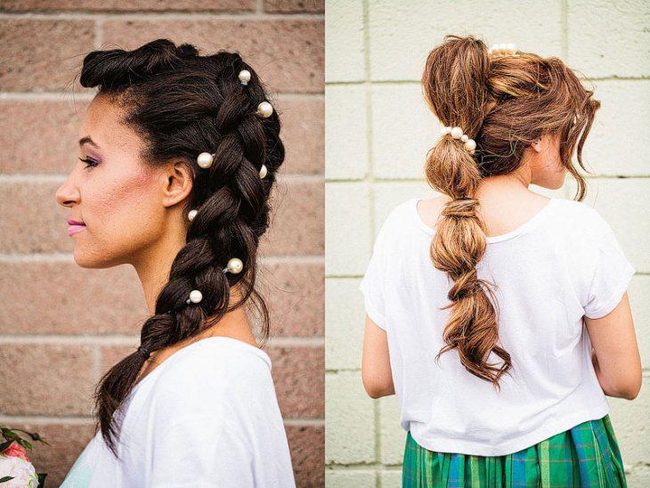 mujeres mostrando su peinado en forma de coleta con perlas