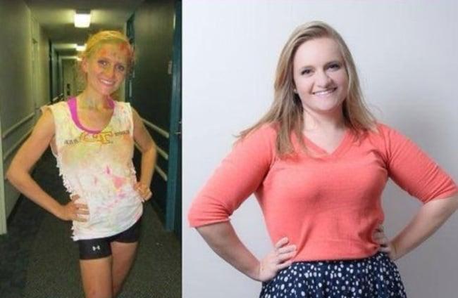 a la izquierda se muestra una chica completamente delgada y a la izquierda se muestra a la misma chica con un poco más de peso