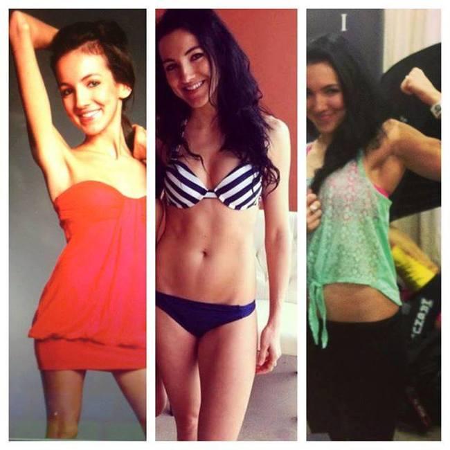 chica en distintas imágenes en donde se ven las fases de su anorexia desde la más delgada hasta la más saludable