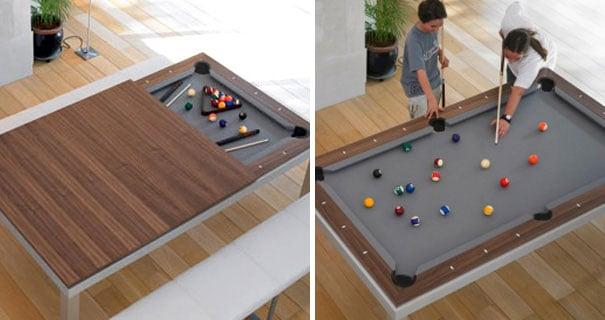 mesa que se desliza y se convierte en una mesa de billar