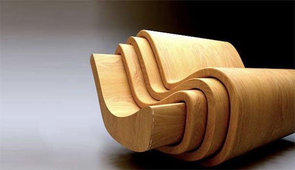 conjunto de cuatro sillas de madera con diseño en curvas