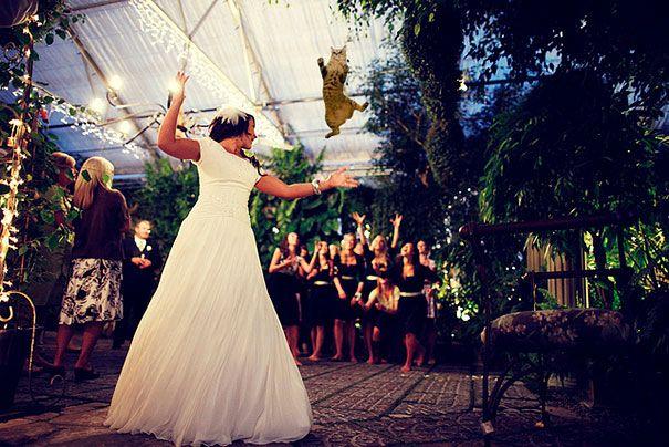 mujer vestida de blanco en medio de un lugar con plantas al rededor lanzando un gato a sus damas de honor