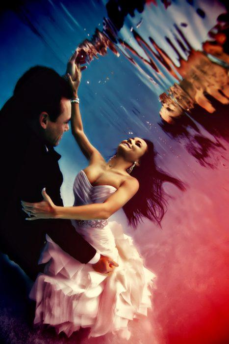 fotografías de boda abajo del agua