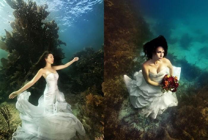 novia en un arrecife