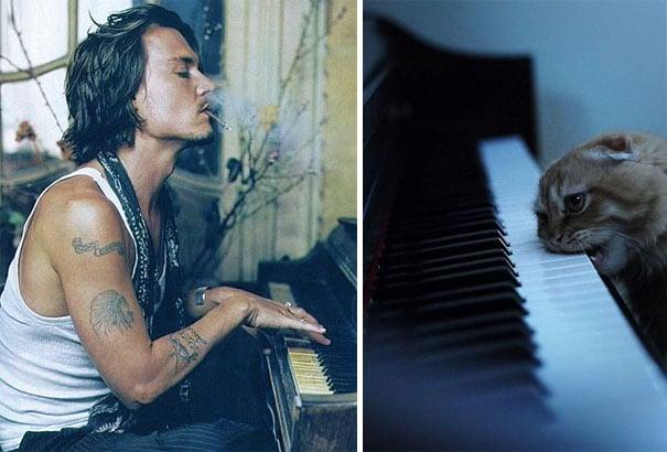 hombre fumando y tocando el piano y gato con su cabeza sobre el piano