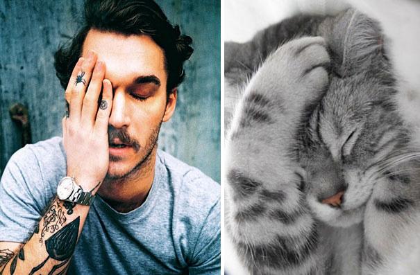 hombre tatuado tapándose un ojo y un gato tocándose la cabeza con la pata