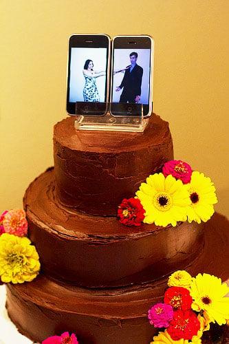 celulares representando figuras de pastel