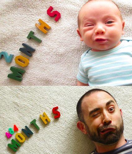 hijo y papá con mismo gesto