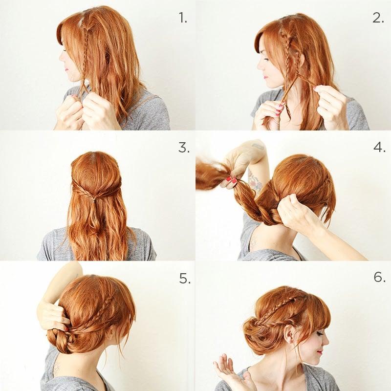 Chica peinándose con trenzas y envolviendo el cabello al rededor de las trenzas