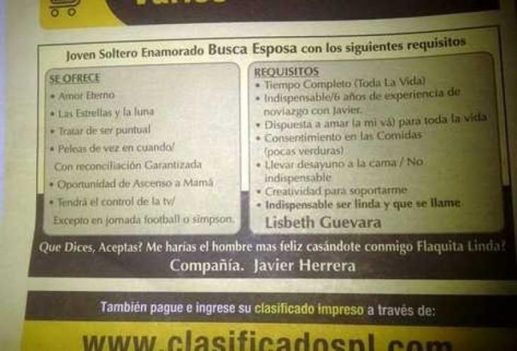 anuncio clasificado de un periódico donde se busca matrimonio